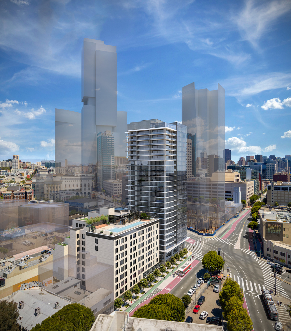 30 Otis Street with massings of the proposed Hub neighborhood, rendering courtesy Gould Evans, image by Steelblue