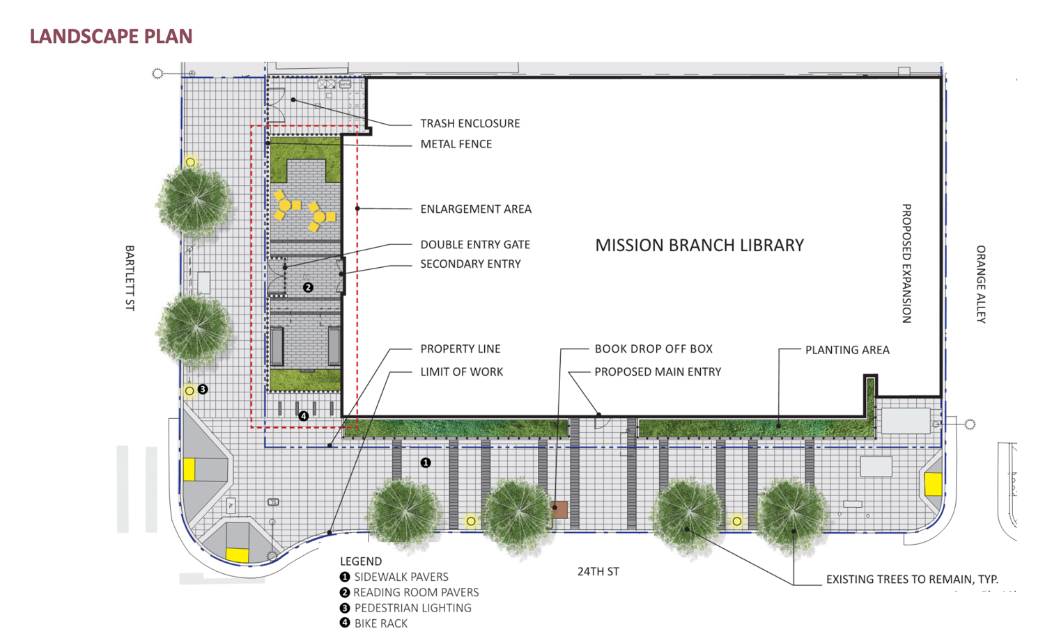 Elevation showcasing proposed landscape additions, rendering via SF Public Works