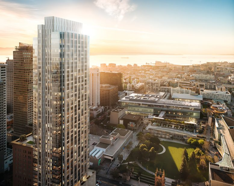 Four Seasons Private Residences at 706 Mission exterior at sunrise, Rendering of the Grand Penthouse, image courtesy 706 Mission Street Co, LLC | Steelblue