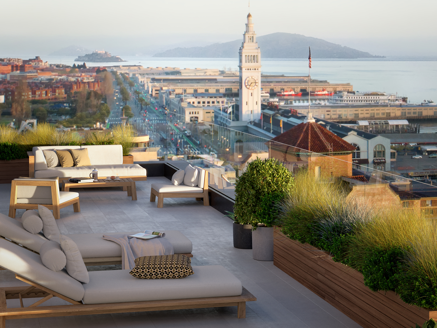 One Steuart Lane with Ferry Building in the background, rendering by Binyan Studios, Creative Direction by Allis