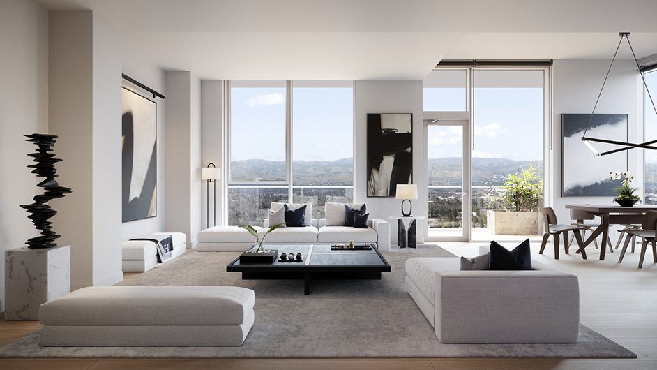 Rendering of living room interior at MIRO, images courtesy Steinberg Hart | Steelblue