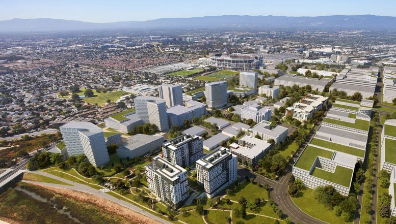 Tasman East Specific Plan, with 2200 Calle De Luna in the foreground, rendering courtesy KTGY