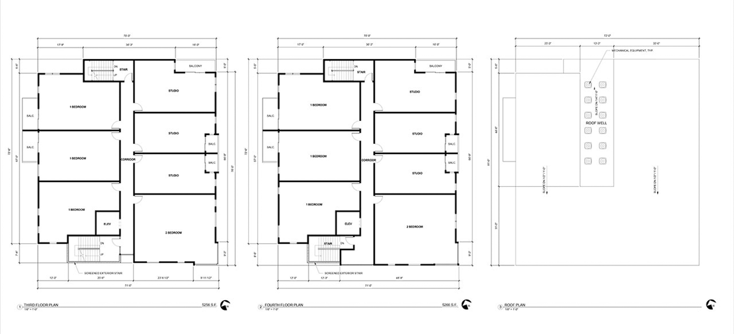 10U at 2030 10th Street floor plan for levels 3 to 5, designed by Ellis Architects