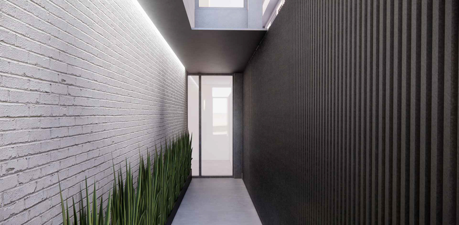 1728 Larkin Street proposed entry with natural cedar slat walls and a black metal ceiling, design by Dumican Mosey Architects