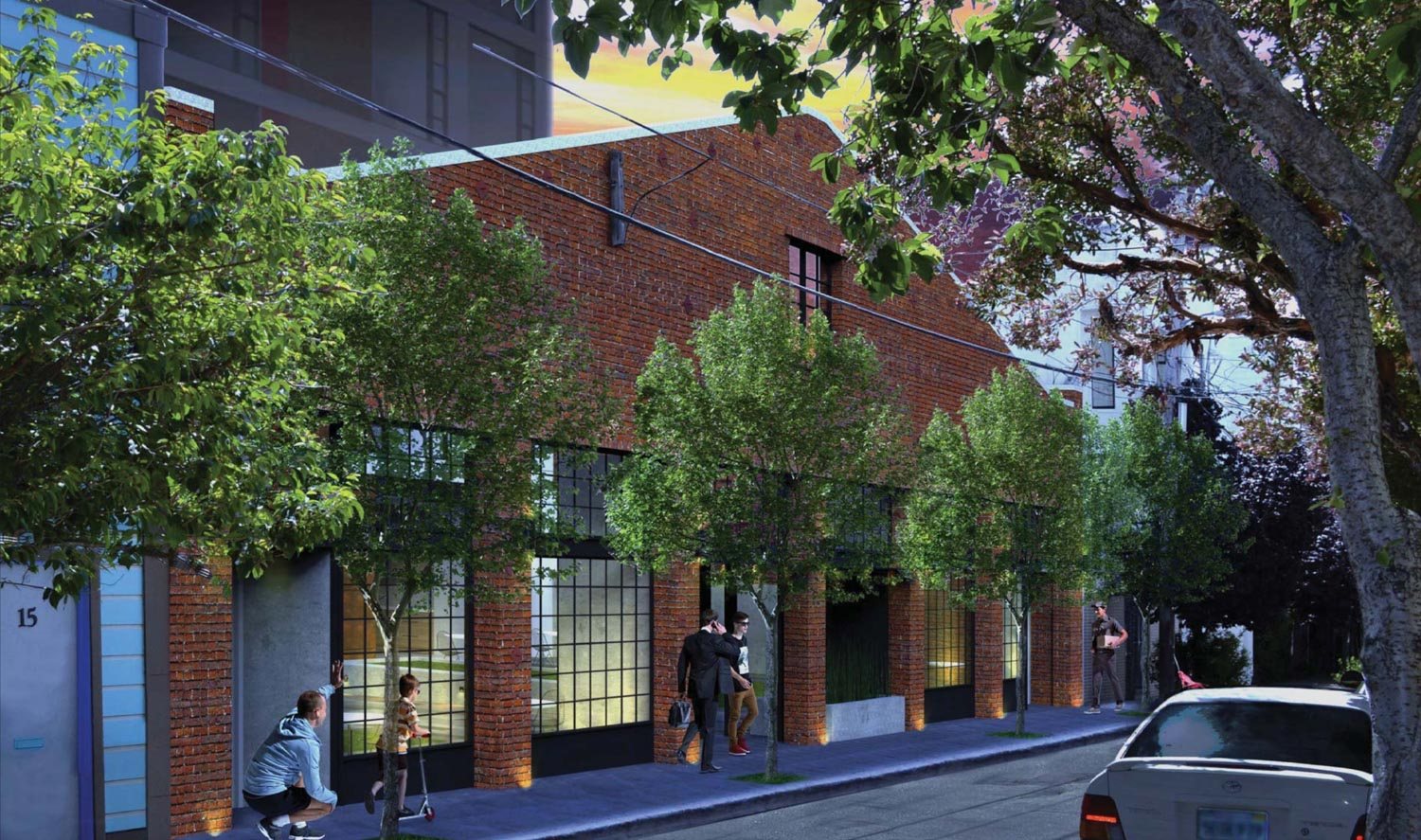 230 7th Street Langton Street facade, rendering by Gary Gee Architects