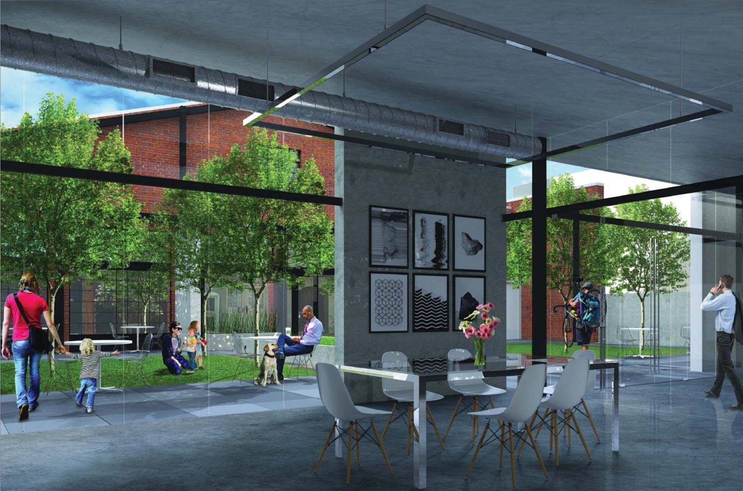 230 7th Street interior social area, rendering by Gary Gee Architects
