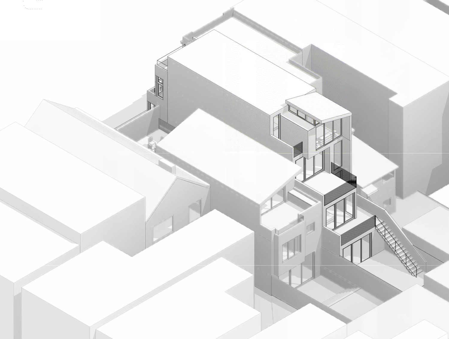 2967 23rd Street axonometric drawing, design by Winder Gibson Architects