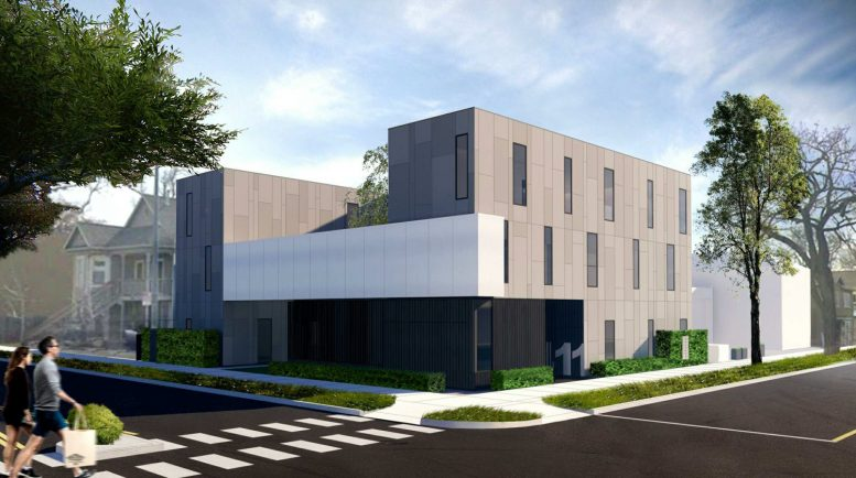 411 18th Street's D and 18th Street corner perspective, design by REgroup Arch