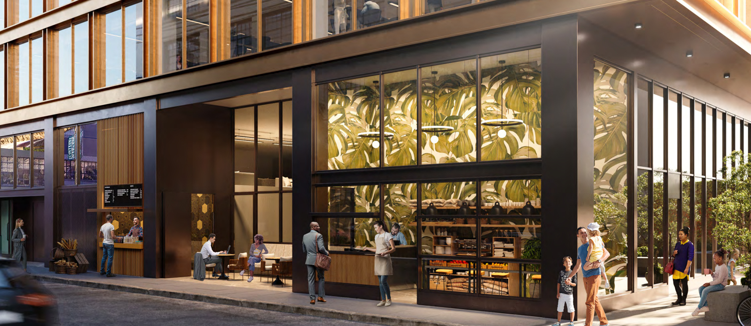 531 Bryant Street street level, design by Handel Architects rendering by NQS Creative