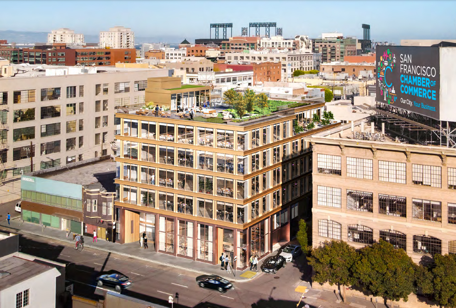 531 Bryant Street with skyline in view, design by Handel Architects rendering by NQS Creative