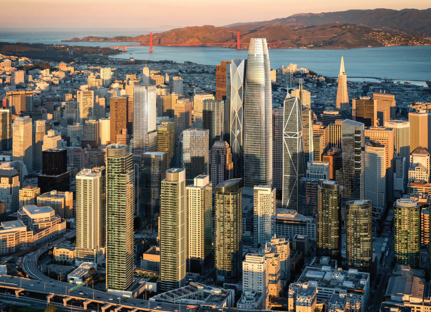 550 Howard Street seen below the left Golden Gate Bridge tower, with the the proposed Oceanwide Center seen behind the Salesforce Building, rendering by SteelBlue
