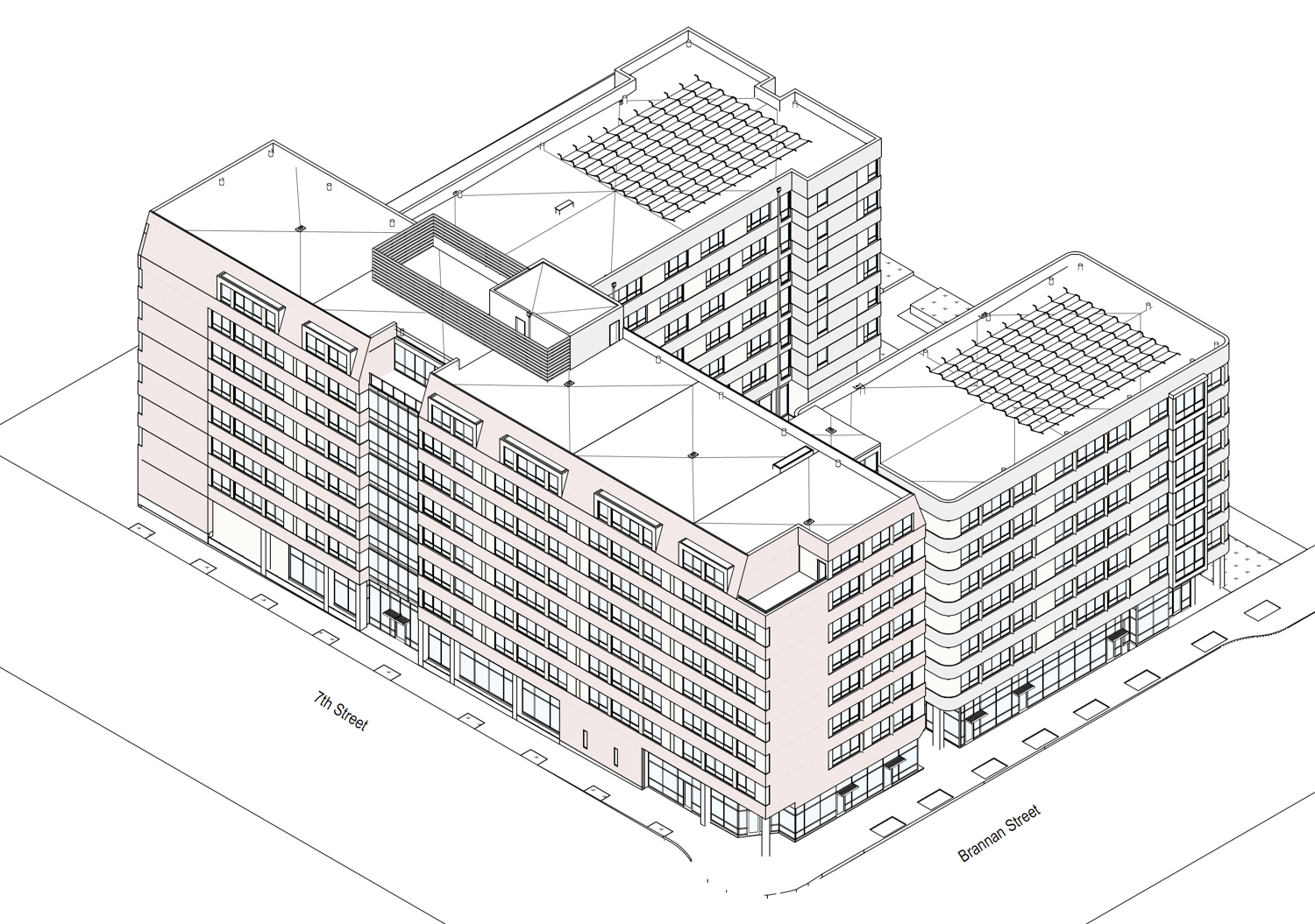 600 7th Street axonometric drawing, design by Cliff Lowe Associates