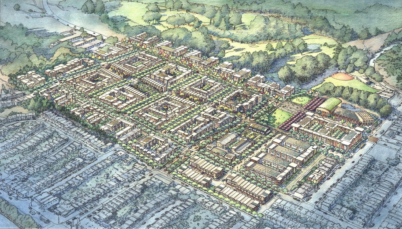 Birdseye View of Sunnydale development, via VMWP Architects