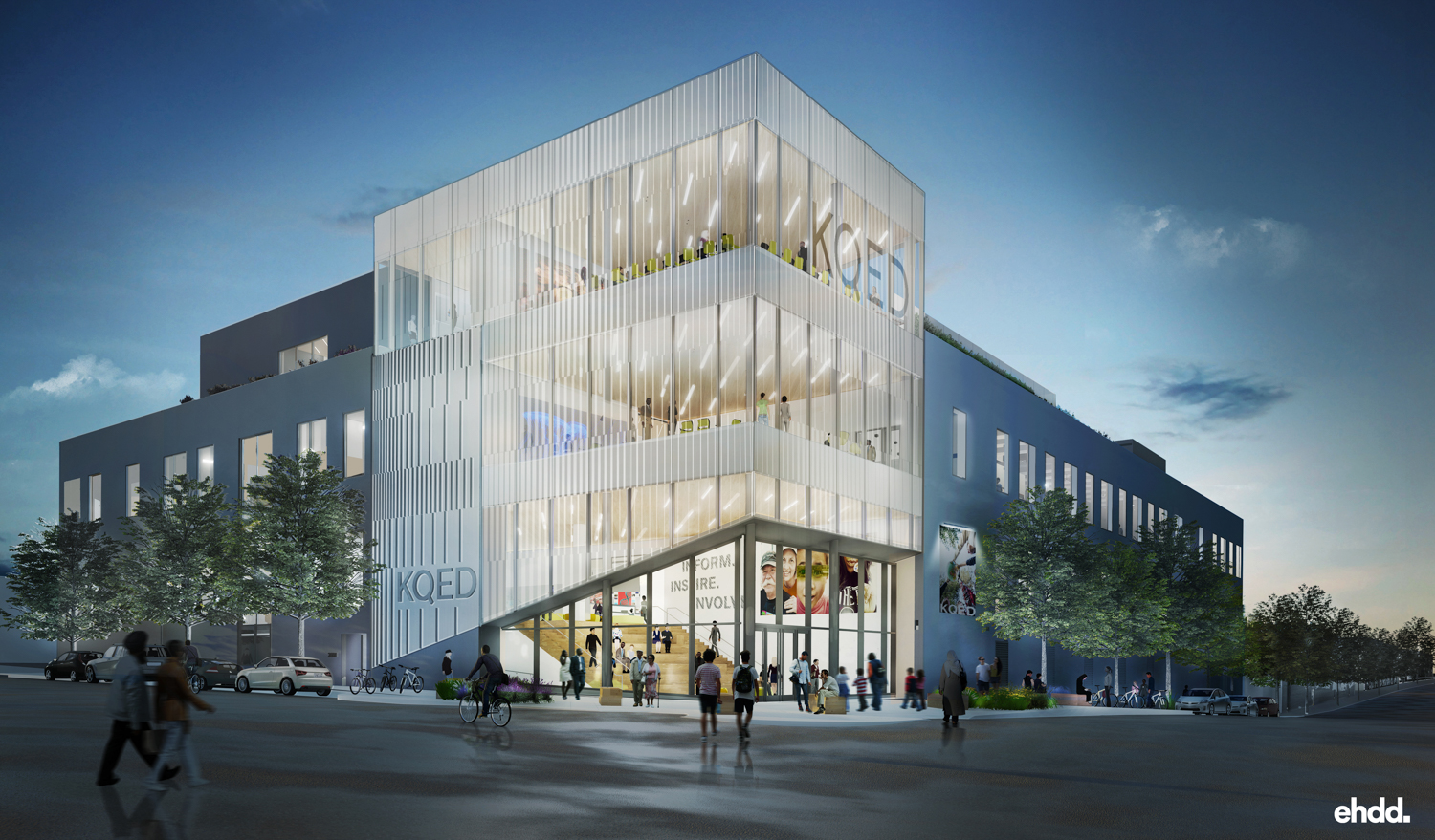 Exterior view of the KQED headquarters at Mariposa and Bryant Streets in San Francisco. Community, transparency, collaboration and innovation are at the heart of EHDD's design. Rendering courtesy of EHDD Architects