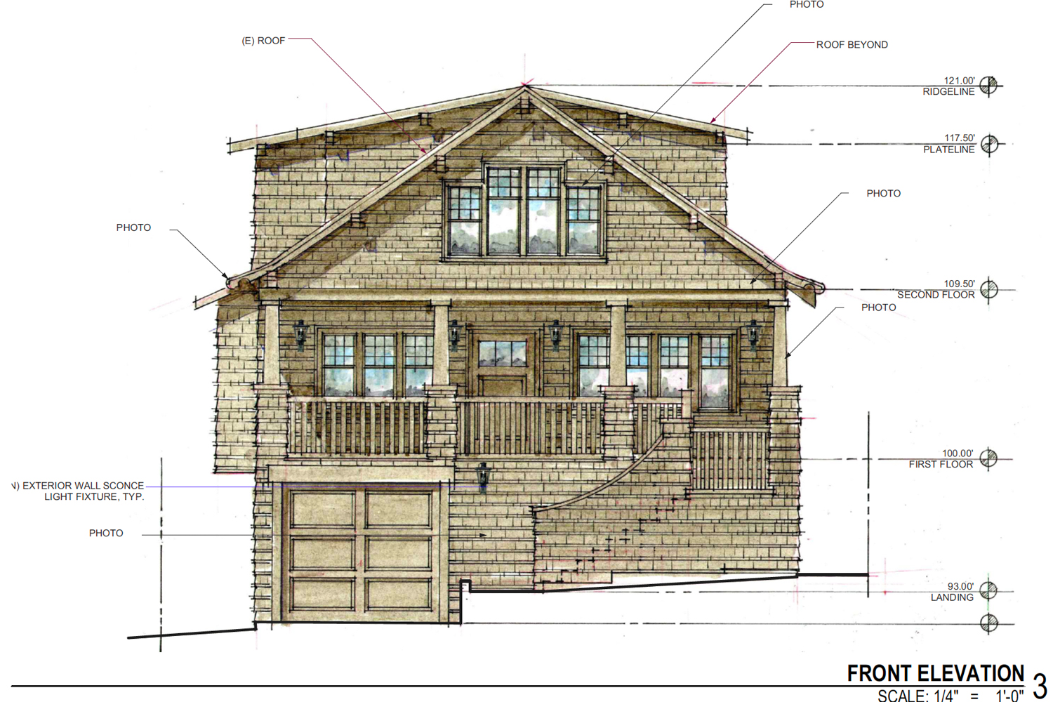 Front elevation of 369 MacArthur Boulevard, drawing by AB Design Studio