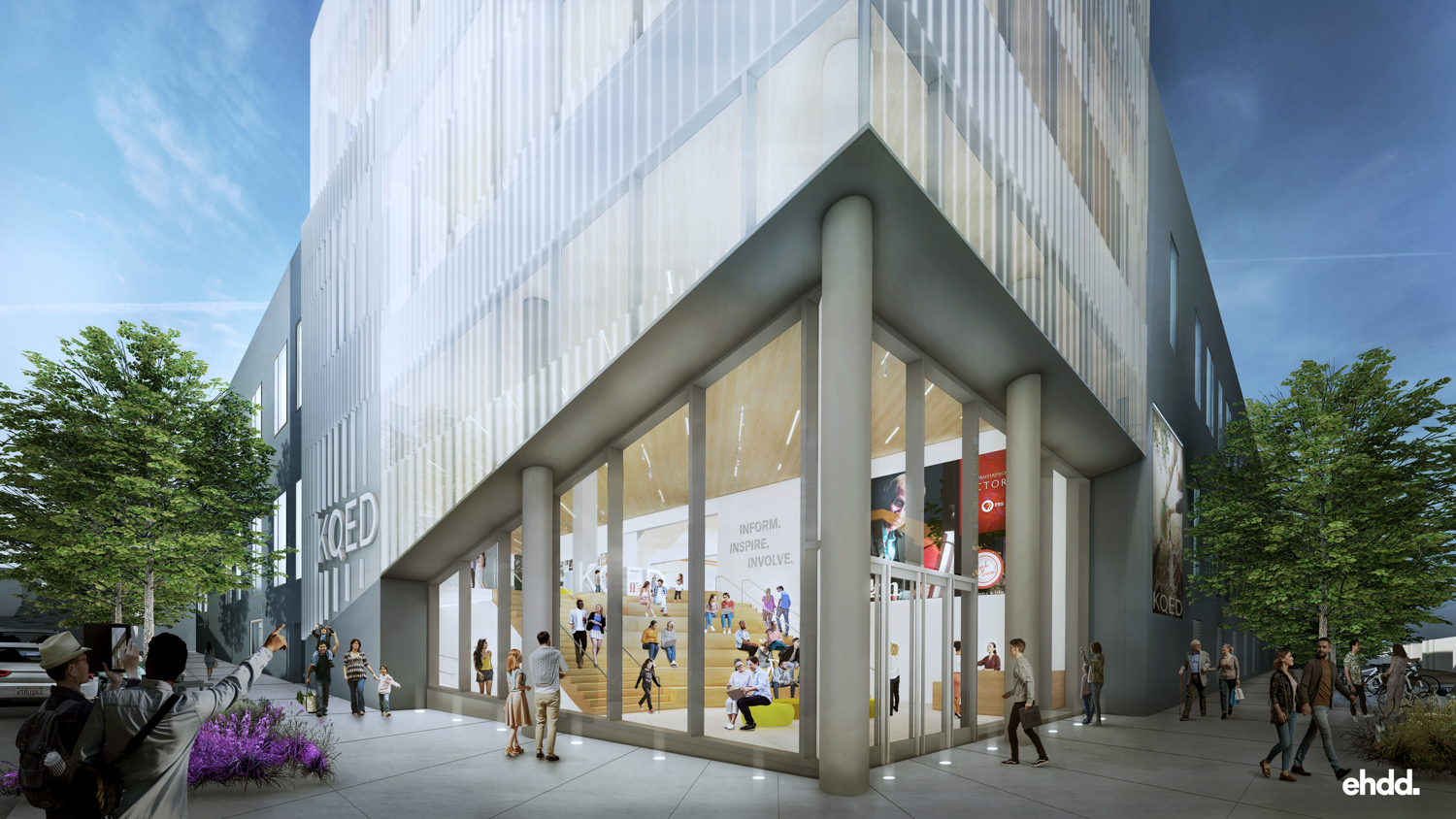 The glassy, dynamic façade of the new KQED Headquarters reflects KQED's commitment to transparency. The new design moved the entrance to the corner of Bryant and Mariposa Streets for more visibility and ease of accessibility. Rendering courtesy of EHDD Architects.