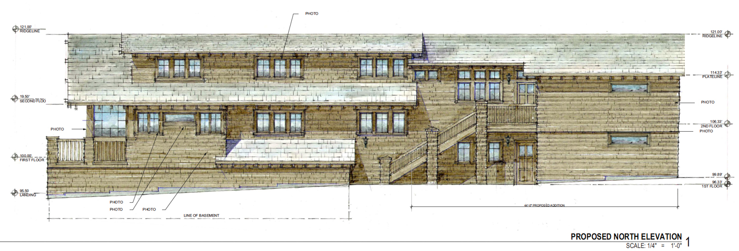 North-side elevation of the proposed expansion on 369 MacArthur Boulevard, drawing by AB Design Studio