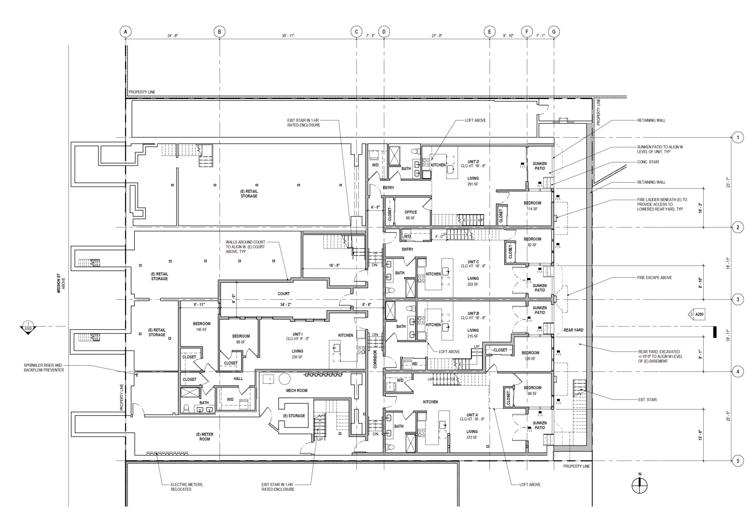 Proposed basement floor plan at 2619 Mission Street, by Open Scope Architecture