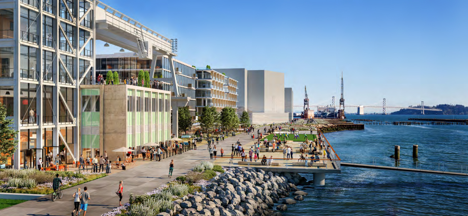 Rendering Looking North Along Proposed Waterfront Park With Pier 70 Mixed-Use District Project (under construction), as Massing in Distance, rendering by Steelblue LLC
