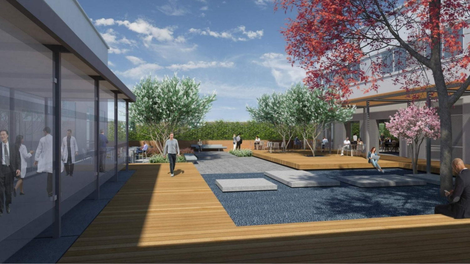 Takara Bio USA office complex enclosed courtyard between office buildings at 2560 and 2570 Orchard Parkway in north San Jose, concept. Rendering by DG Architects