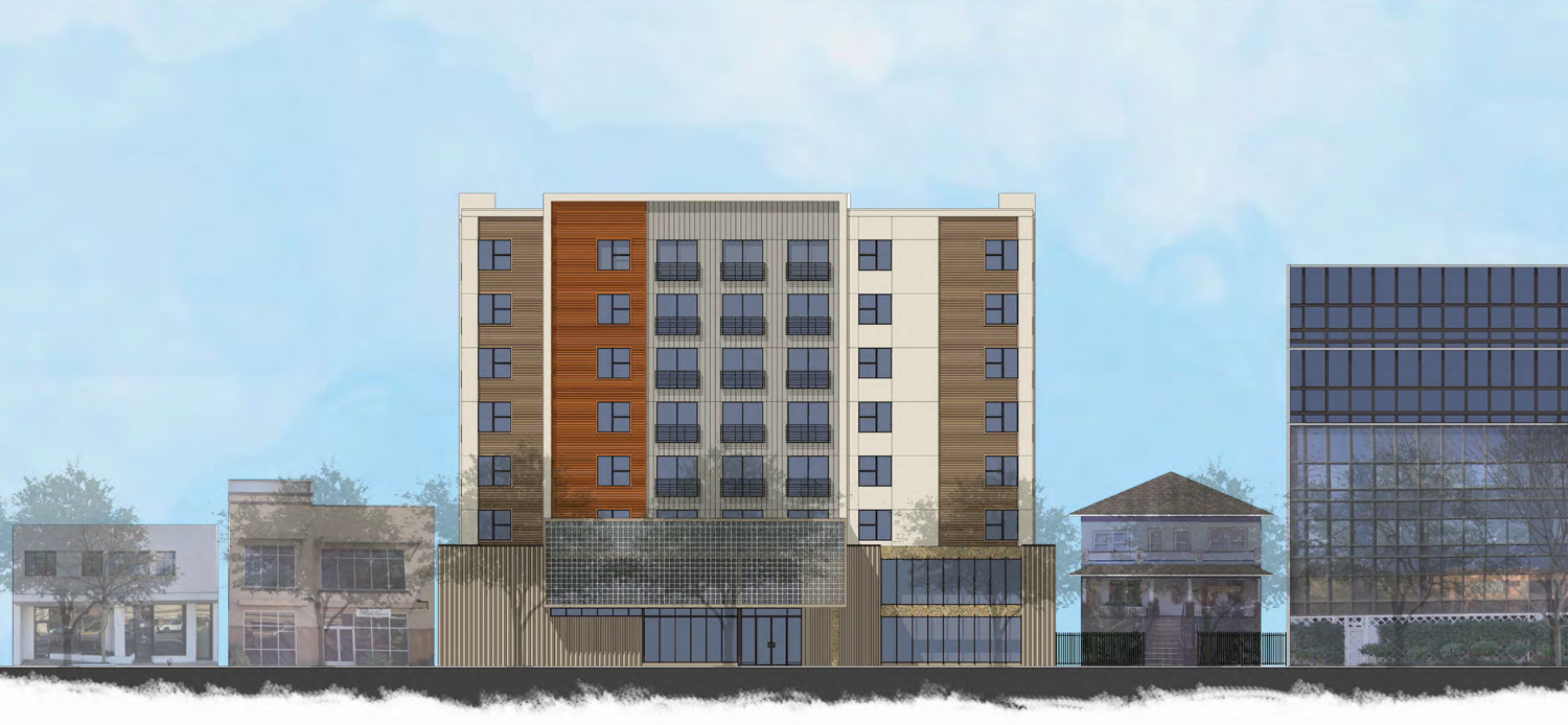 1220 H Street elevation, with surrounding neighbors in view, rendering by Kuchman Architects PC