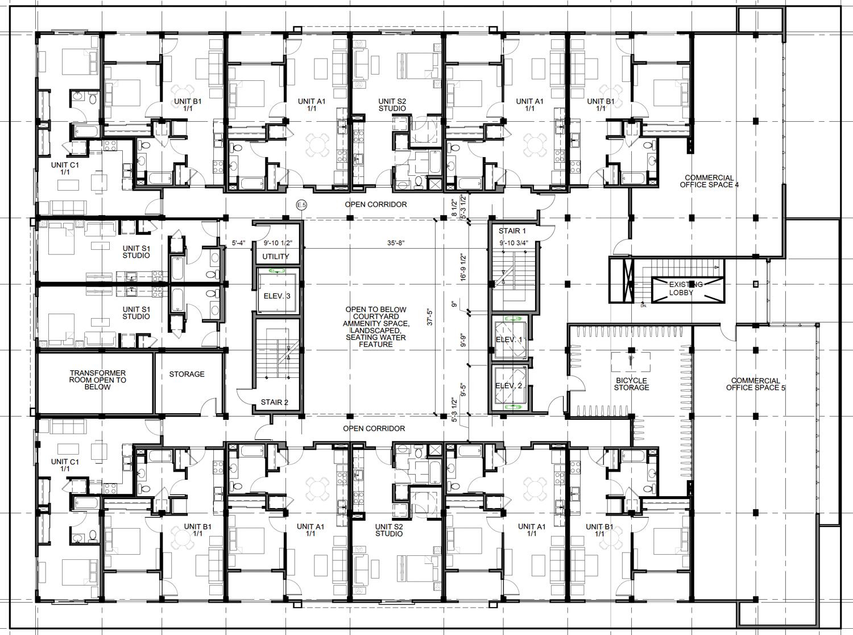 1220 H Street floorplan, rendering by Kuchman Architects PC