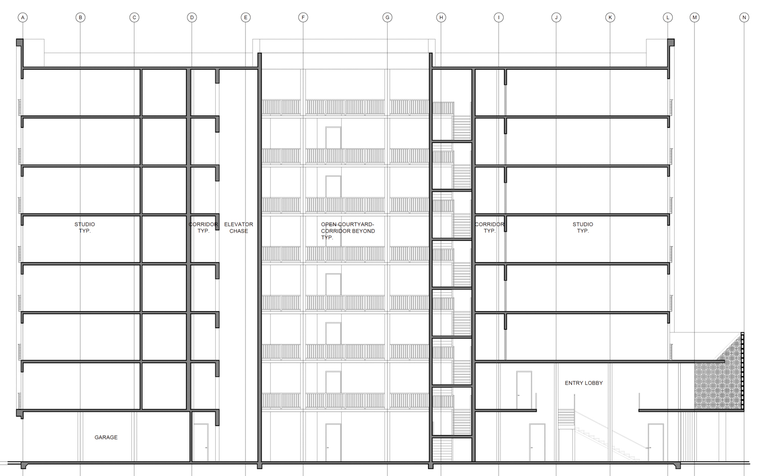 1220 H Street interior courtyard, drawing by Kuchman Architects PC