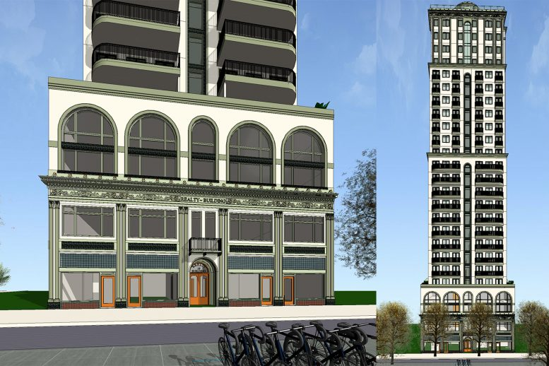19 North 2nd Street podium on left, tower to the right, image courtesy Anderson Architects