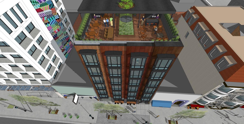2023 Shattuck Avenue rooftop deck, rendering via Trachtenberg Architects