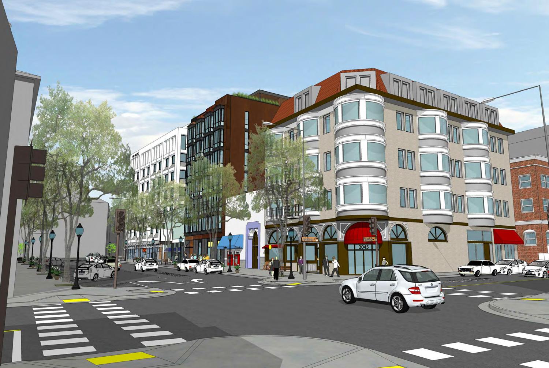 2023 Shattuck Avenue viewed from streetcorner, drawing via Trachtenberg Architects