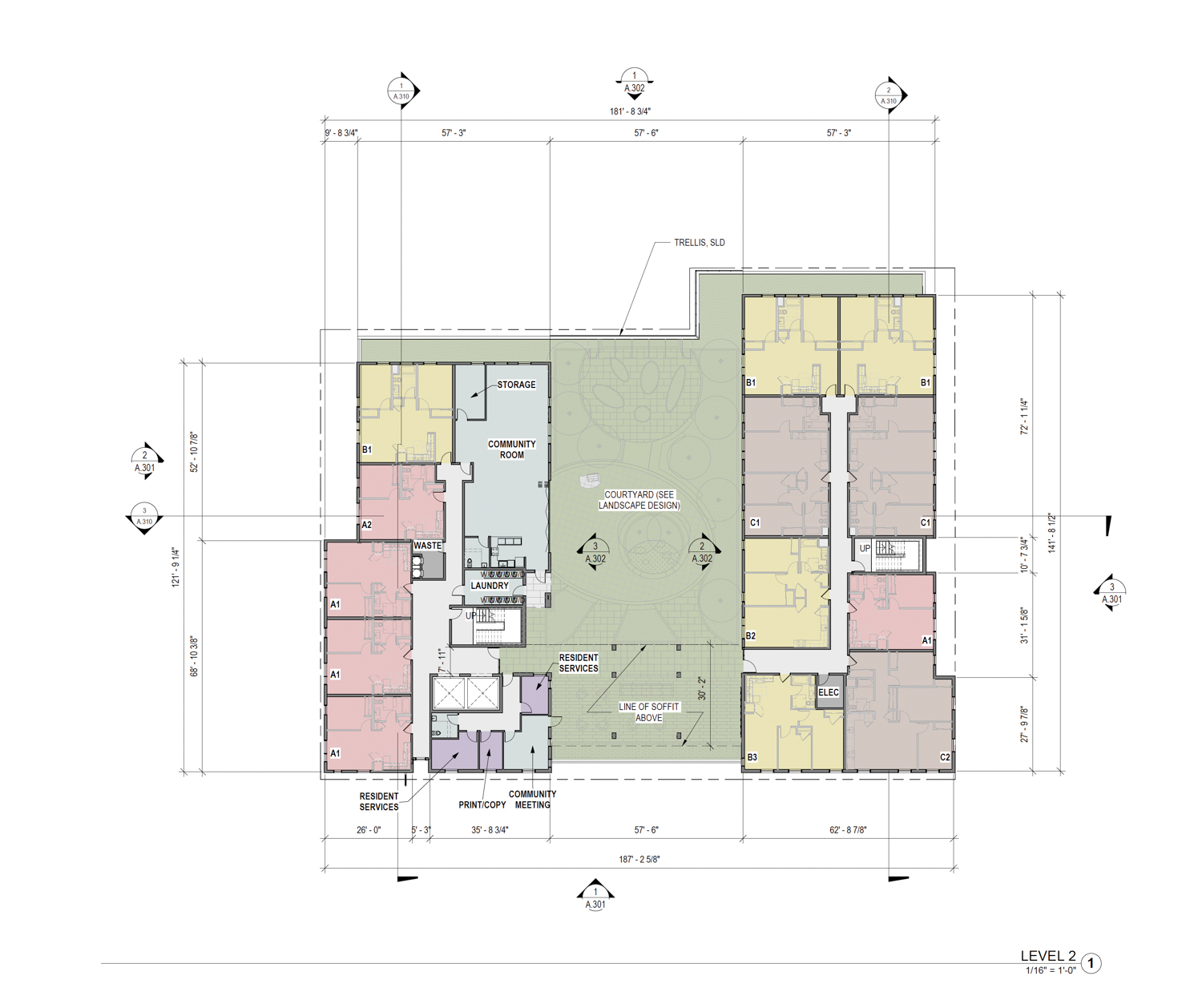 2700 International Boulevard second-level floor plan with interior courtyard, design by Pyatok Architects