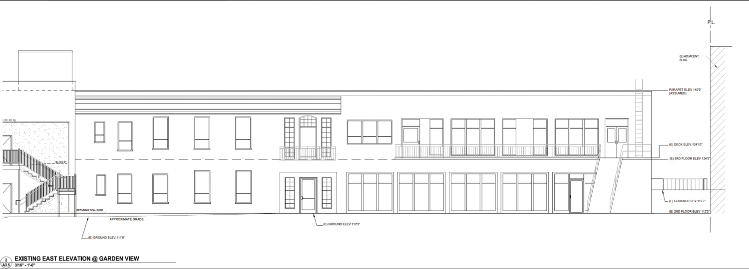 2750 Geary Boulevard existing elevation from garden view, design by Kodama Diseno