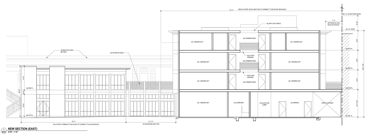 2750 Geary Boulevard proposed elevation from garden view, design by Kodama Diseno