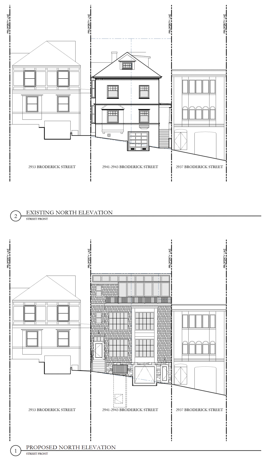 2941 Broderick Street before and after, design by Ken Linsteadt Architects