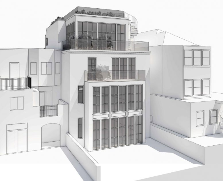 2941 Broderick Street proposed rendering of back, design by Ken Linsteadt Architects