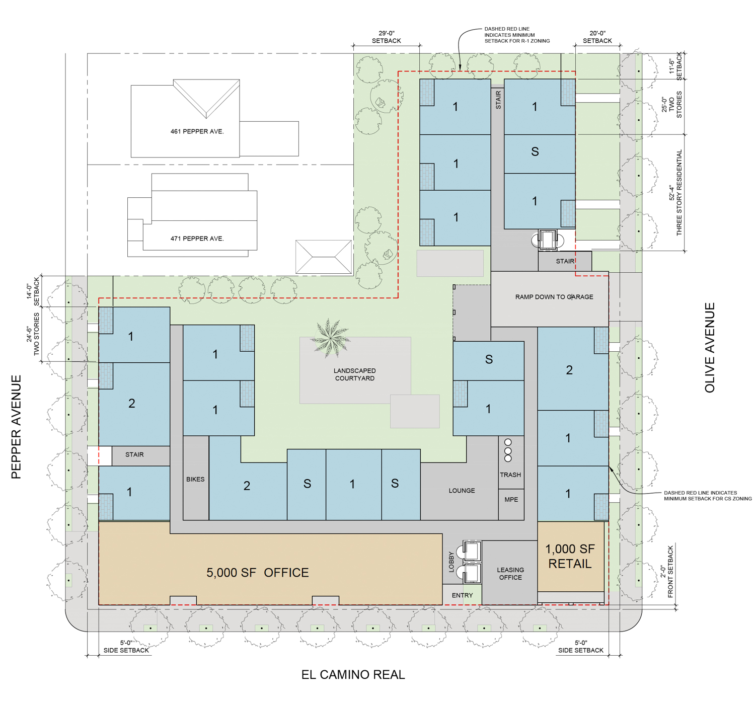 2951 El Camino Real floor plan, drawing by Sherry L Scott Architect