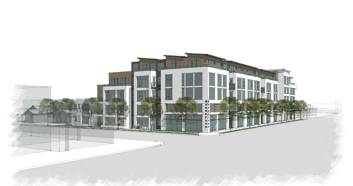 2951 El Camino Real view from Pepper Avenue, drawing by Sherry L Scott Architect