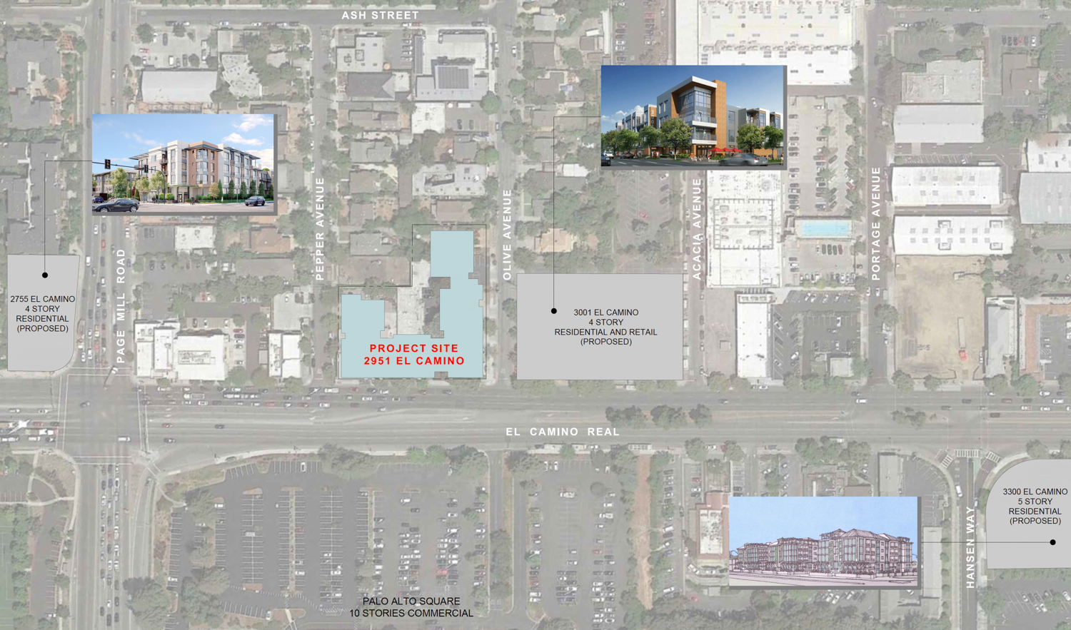 2951 El Camino Real with neighboring developments, drawing by Sherry L Scott Architect