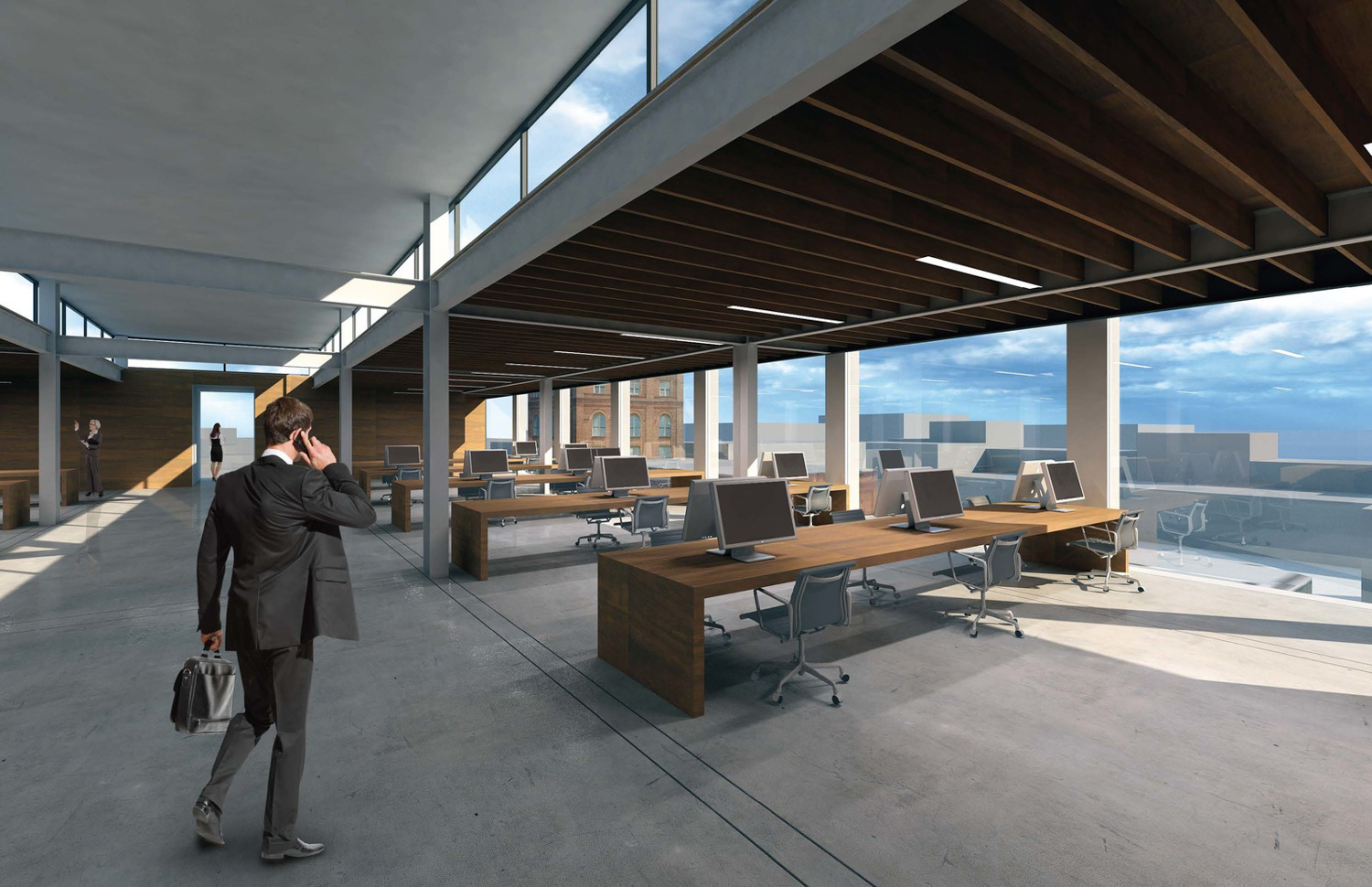 340 11th Street office space interior, rendering courtesy Stanley Saitowitz Natoma Architects