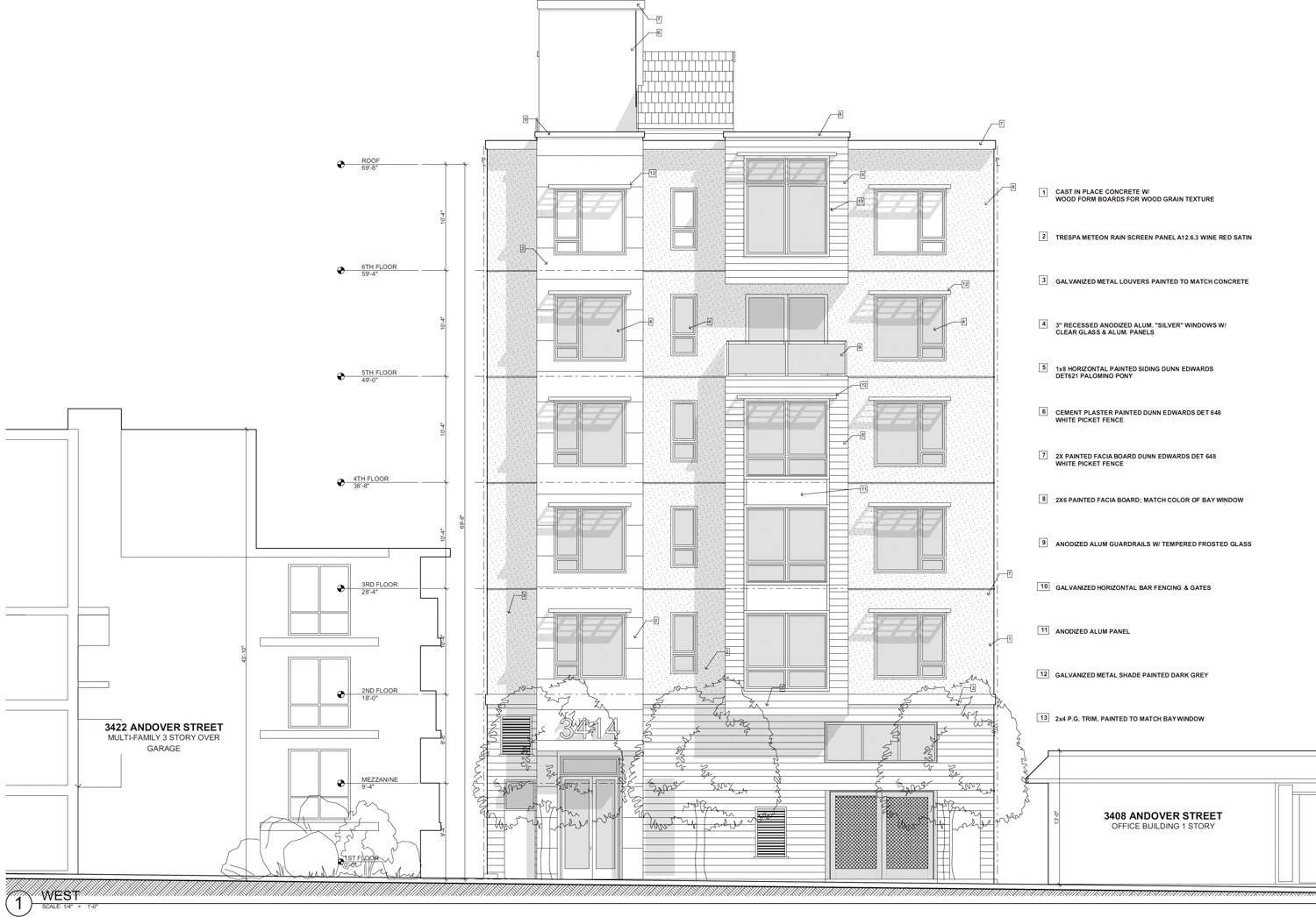 3414 Andover Street vertical elevation, design by Kotas Pantaleoni Architects