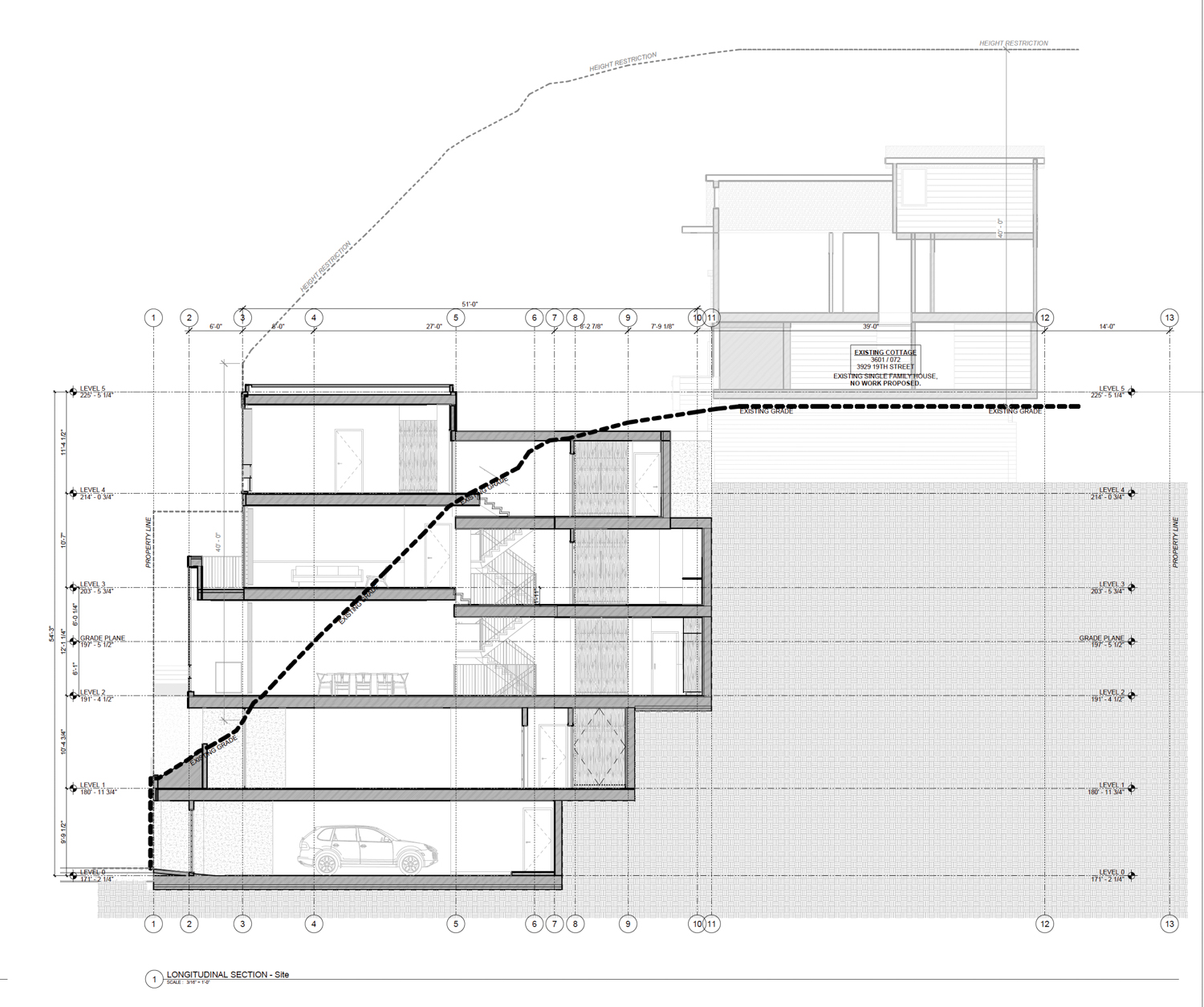 3929 19th Street longitudinal section, drawing by Studio 12