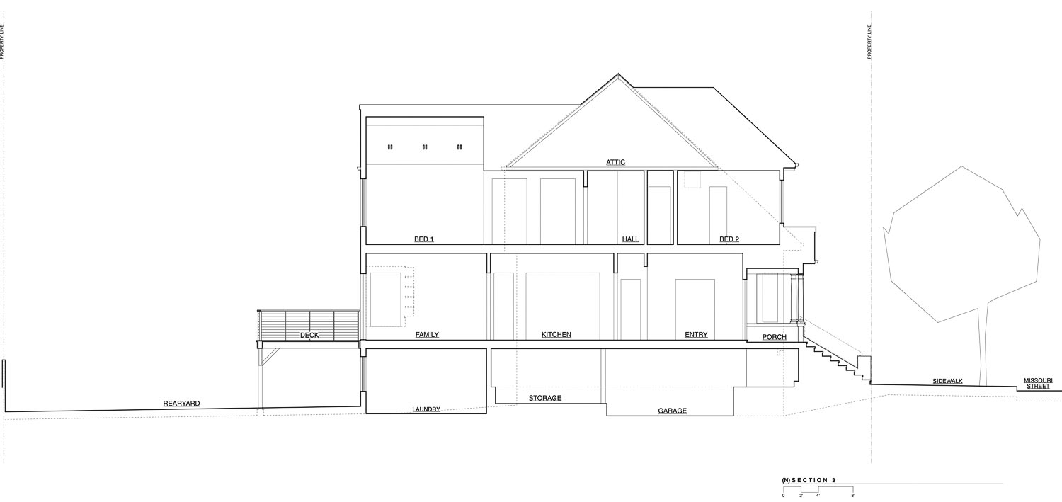 422 Missouri Street addition shown on the left side of the drawing, by Apparatus Architecture