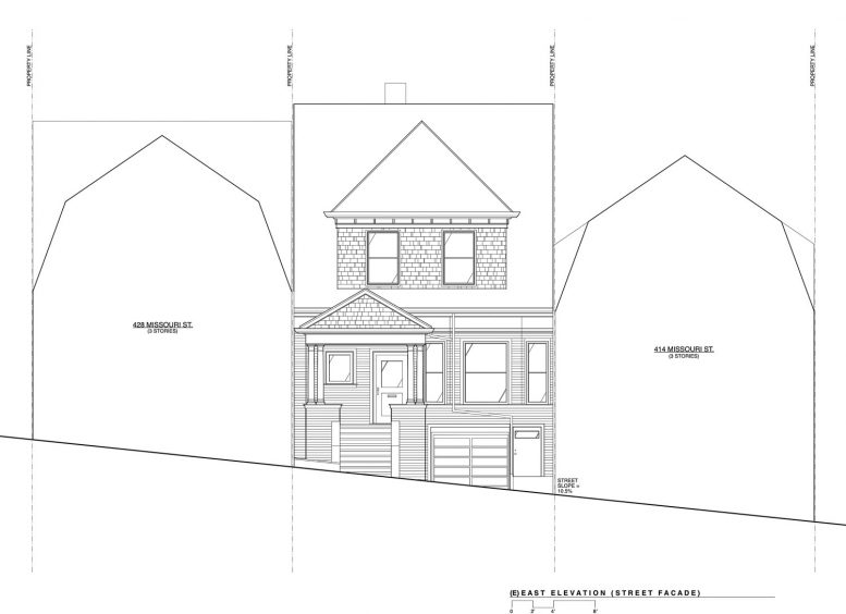 422 Missouri Street, east elevation of front-facing facade, drawing by Apparatus Architecture