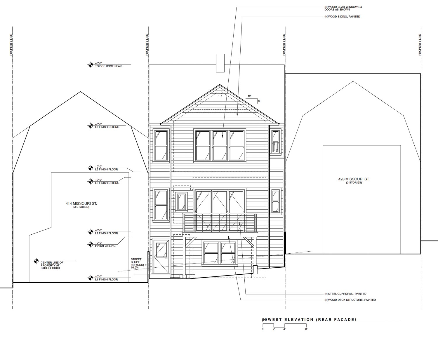 422 Missouri Street, west elevation of rear facade proposal, drawing by Apparatus Architecture