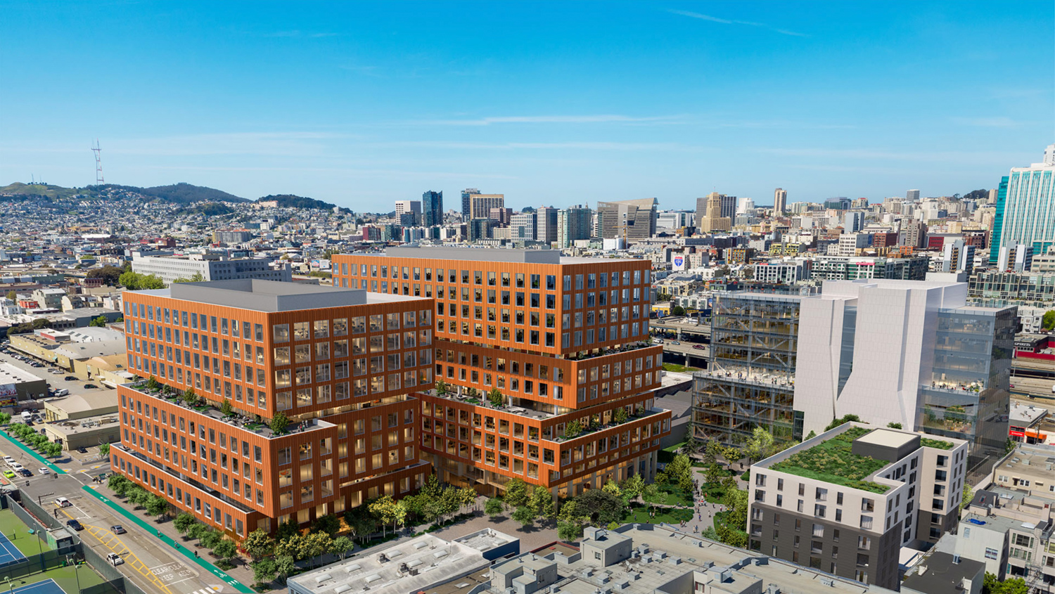 598 Brannan Street with phase two to the right of the rendering, by Mitsui Fudosan