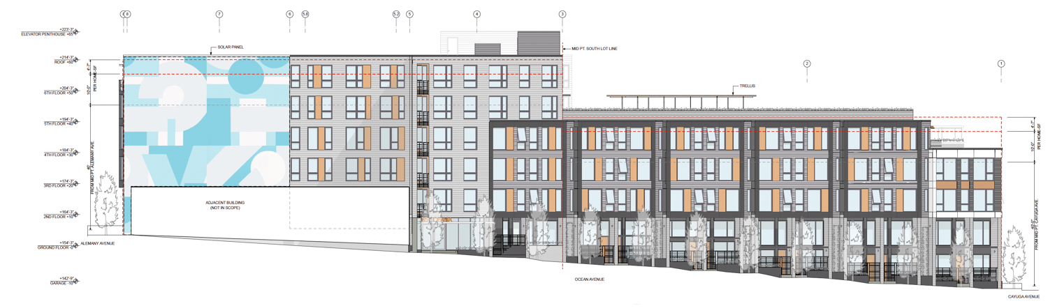 65 Ocean Avenue facade elevation, drawing by rg architecture