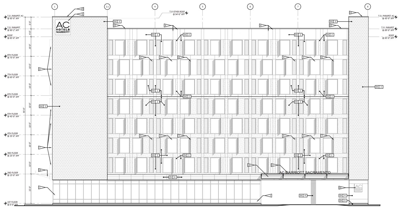 730 I Street hotel building elevation, rendering courtesy De Bartolo + Rimanic Design Studio