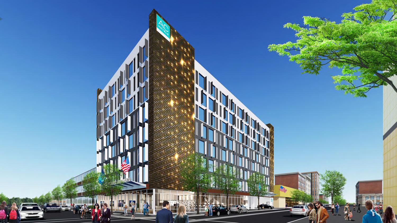 730 I Street hotel building hero view, rendering courtesy De Bartolo + Rimanic Design Studio
