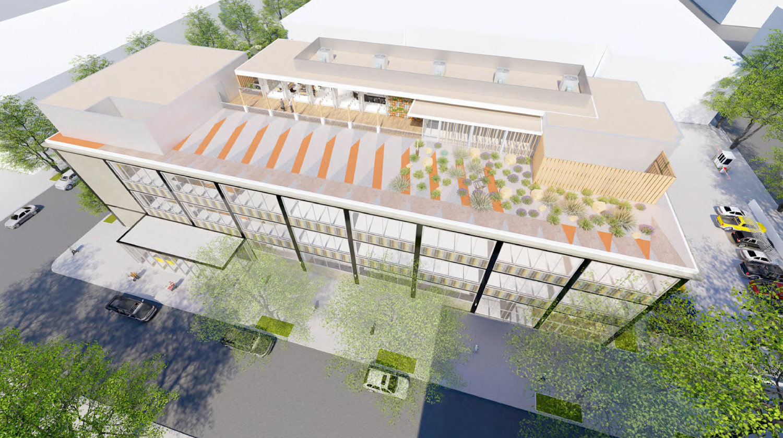 730 I Street office building aerial view, rendering courtesy De Bartolo + Rimanic Design Studio