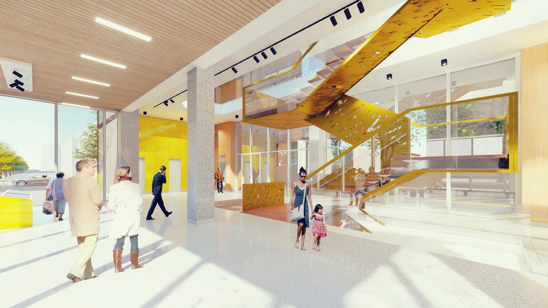 730 I Street office building lobby, rendering courtesy De Bartolo + Rimanic Design Studio